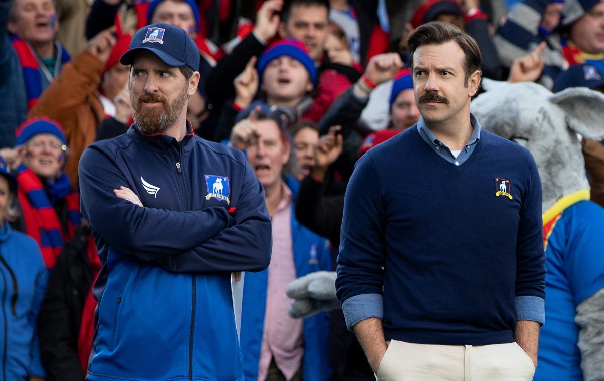 (L-R): Brendan Hunt as Coach Beard and Jason Sudeikis as Ted Lasso in 'Ted Lasso' Season 1