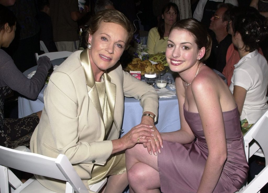 Julie Andrews (L) and Anne Hathaway during 'The Princess Diaries' Premiere After Party; there were other actors who nearly played Mia in 'The Princess Diaries'