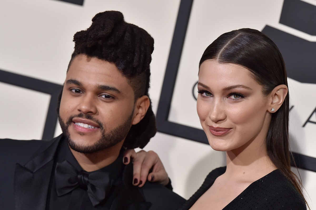 The Weeknd (L) and Bella Hadid on February 15, 2016, in Los Angeles, California.