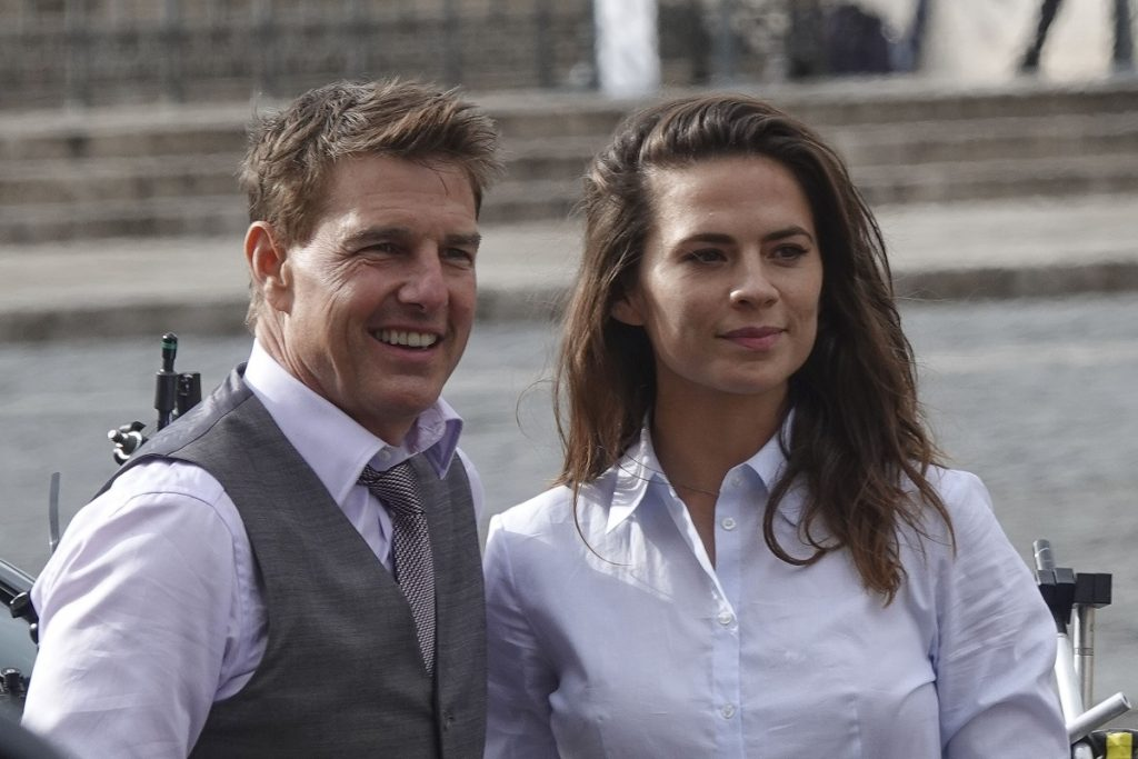 (L-R): Tom Cruise and Hayley Atwell on the set of 'Mission: Impossible 7' on October 11, 2020, in Rome, Italy.