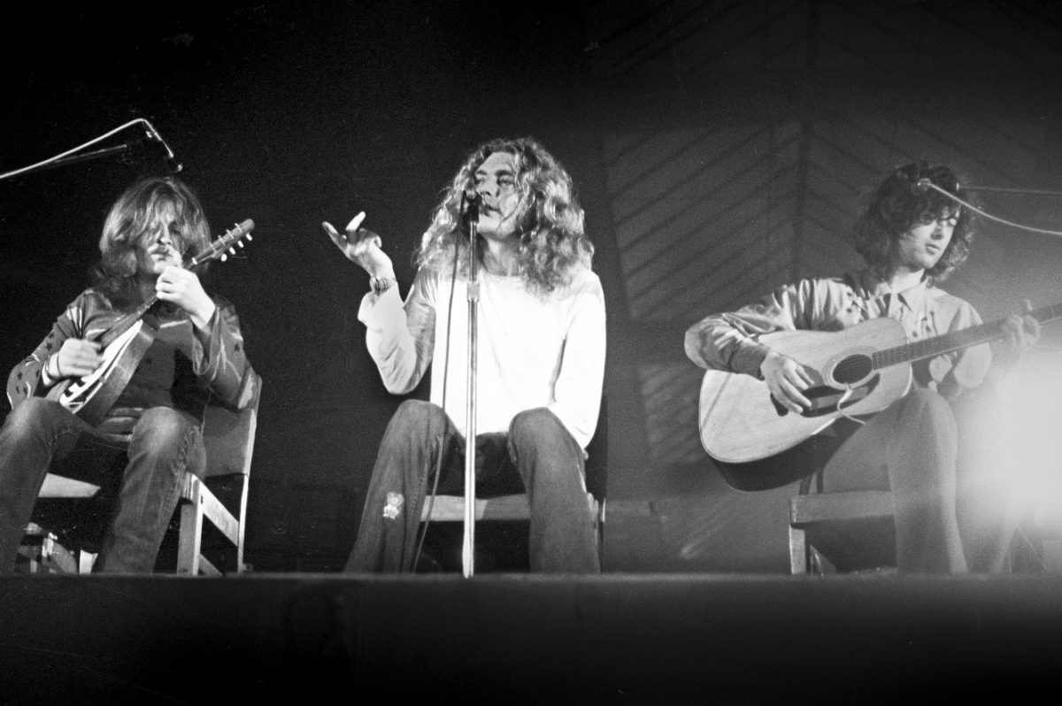 John Paul Jones, Robert Plant and Jimmy Page of Led Zeppelin perform on stage at Oude Rai on 27 May 1972 in Amsterdam.