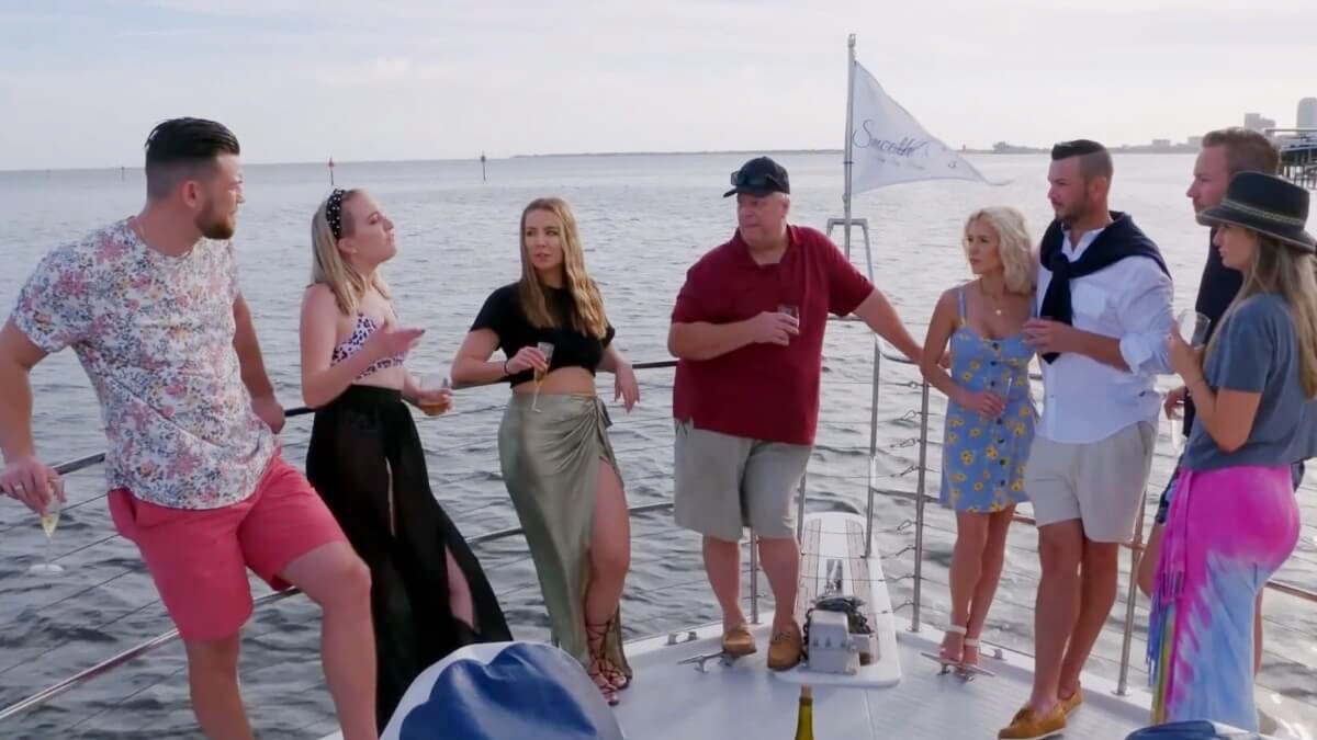 Elizabeth Potthast, Andrei Castravet, and the rest of the Potthast family on a yacht on '90 Day Fiancé: Happily Ever After?'