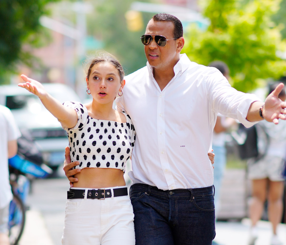 Alex Rodriguez is seen with his daughter on June 21, 2021 in New York City.