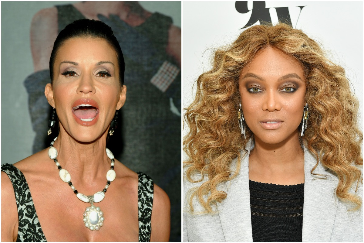 'ANTM' judges Janice Dickinson and Tyra Banks posing for the camera at separate events.