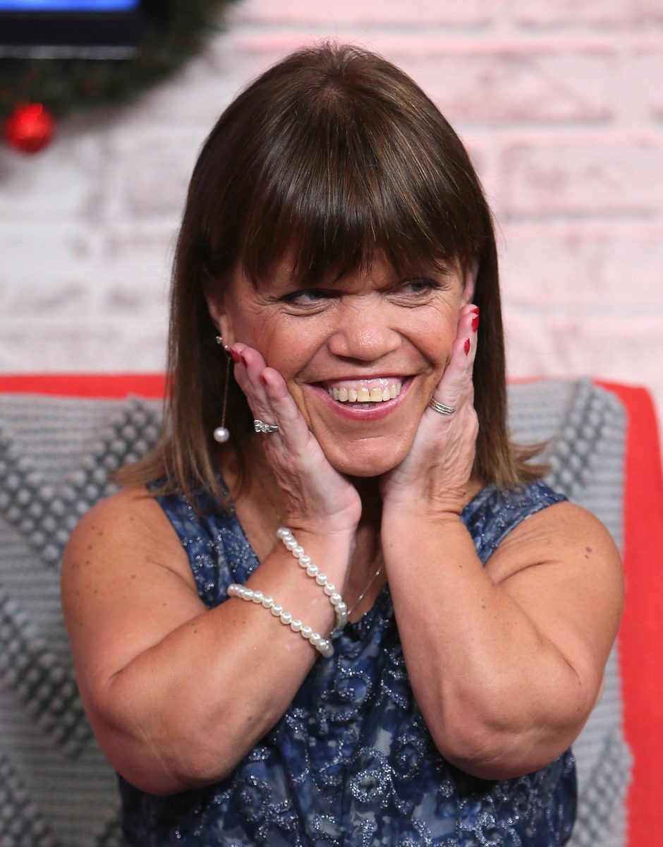 Amy Roloff from the Roloff family on 'Little People, Big World' smiling and holding her face in her hands