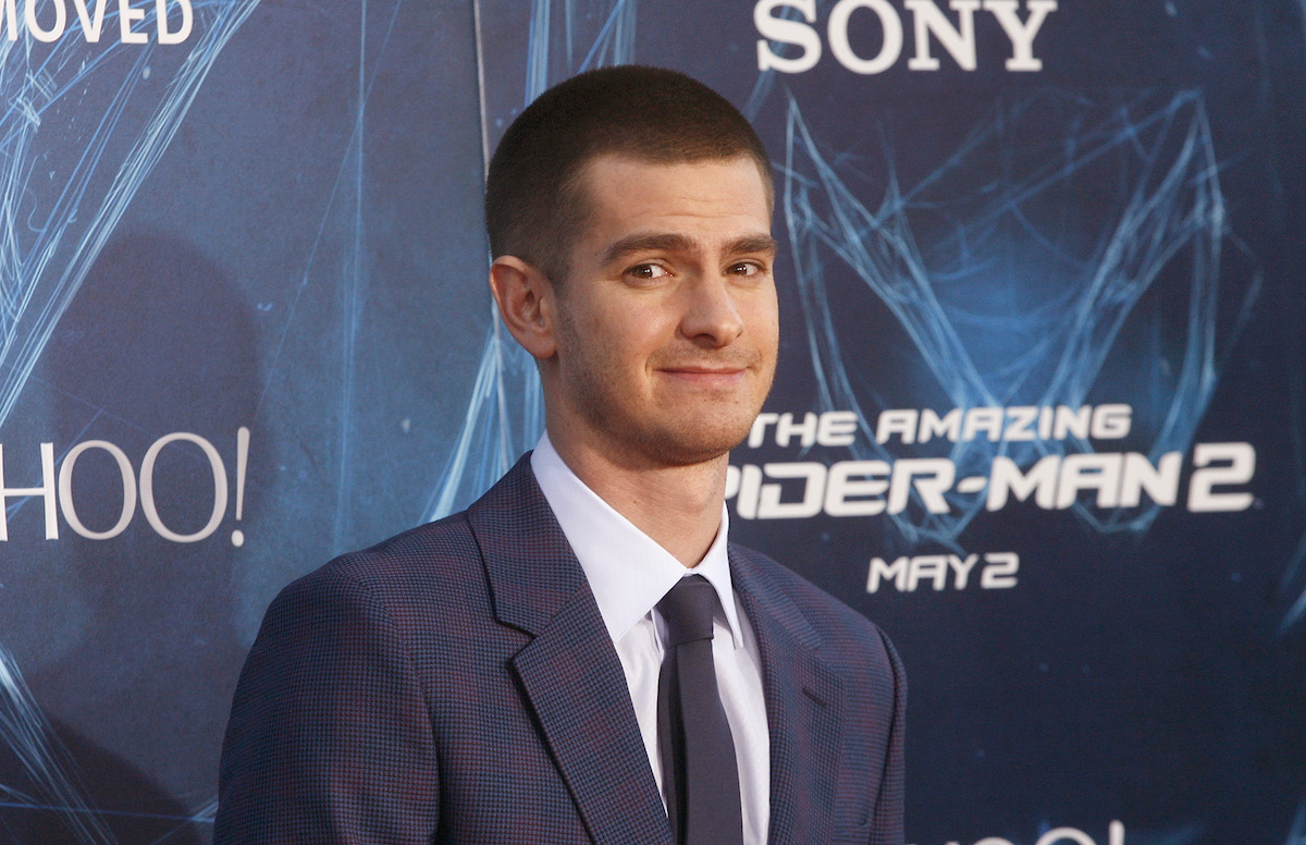 Andrew Garfield poses in a suit in front of 'The Amazing Spider-Man 2' logo