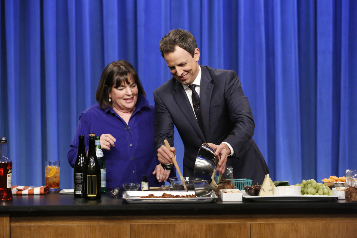 Ina Garten and host Seth Meyers during a cooking segment on October 27, 2016