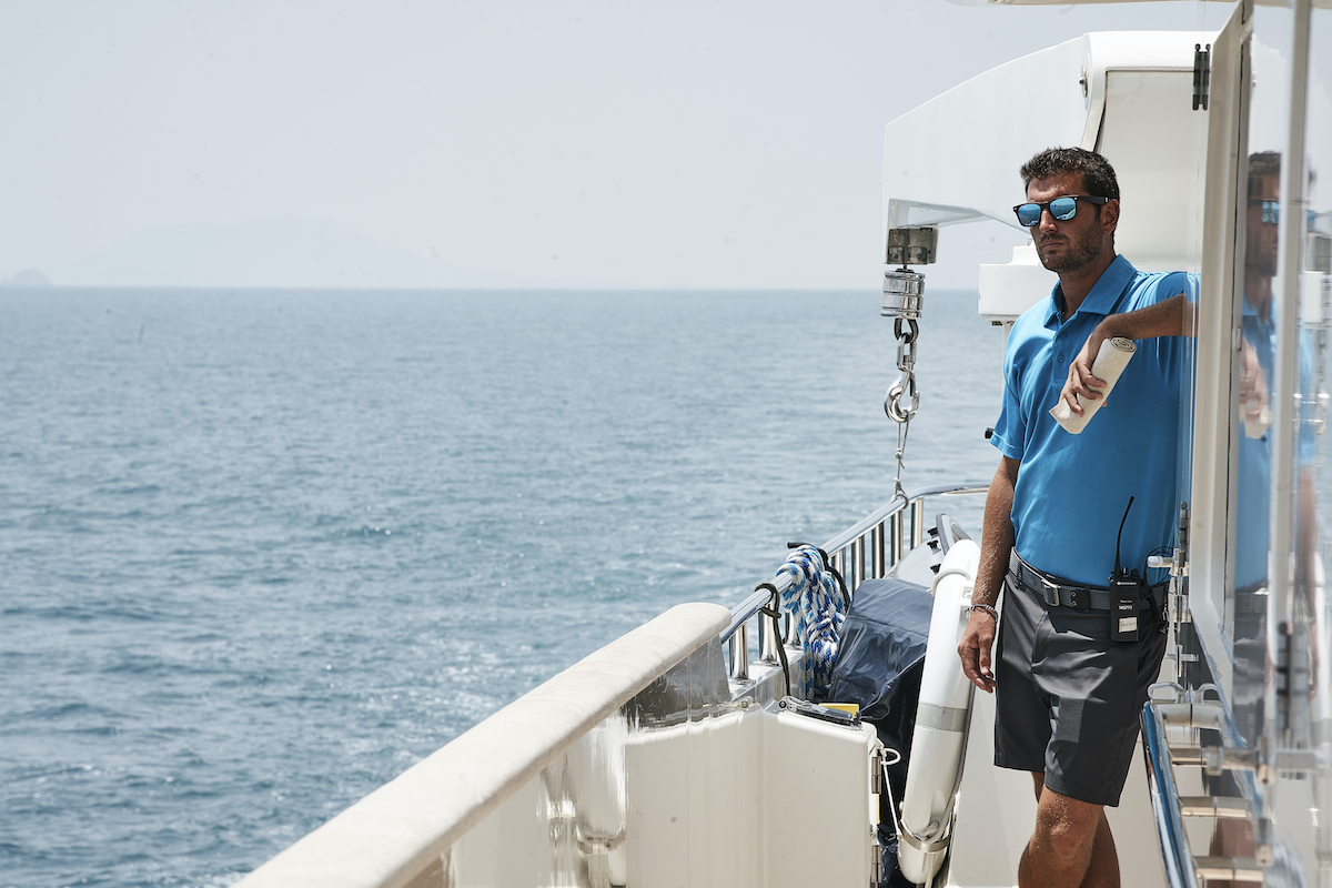 Tanner Sterback on Below Deck Season 7 in the middle of deck work