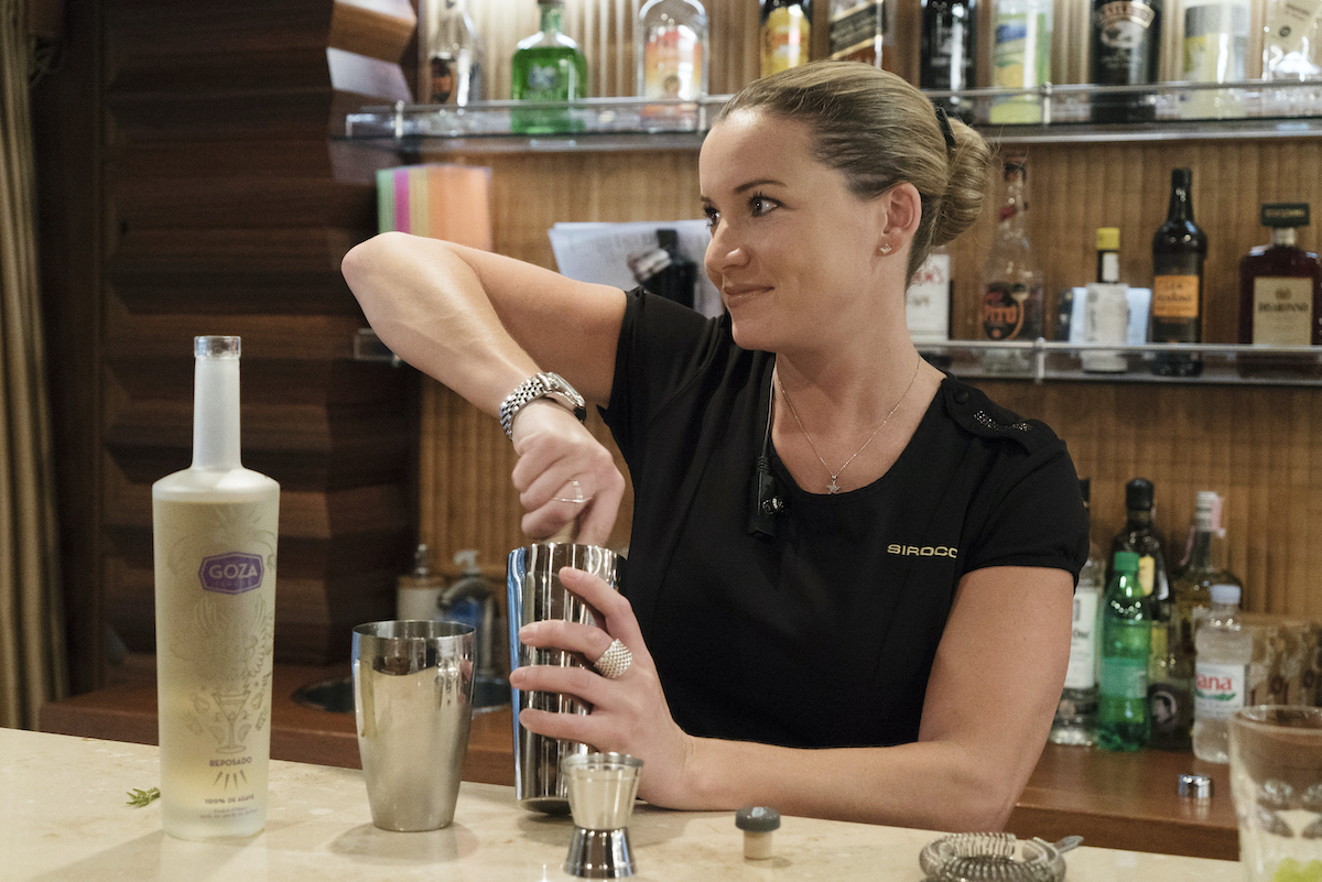 Below Deck Mediterranean's Hannah Ferrier makes cocktails for the charter guests