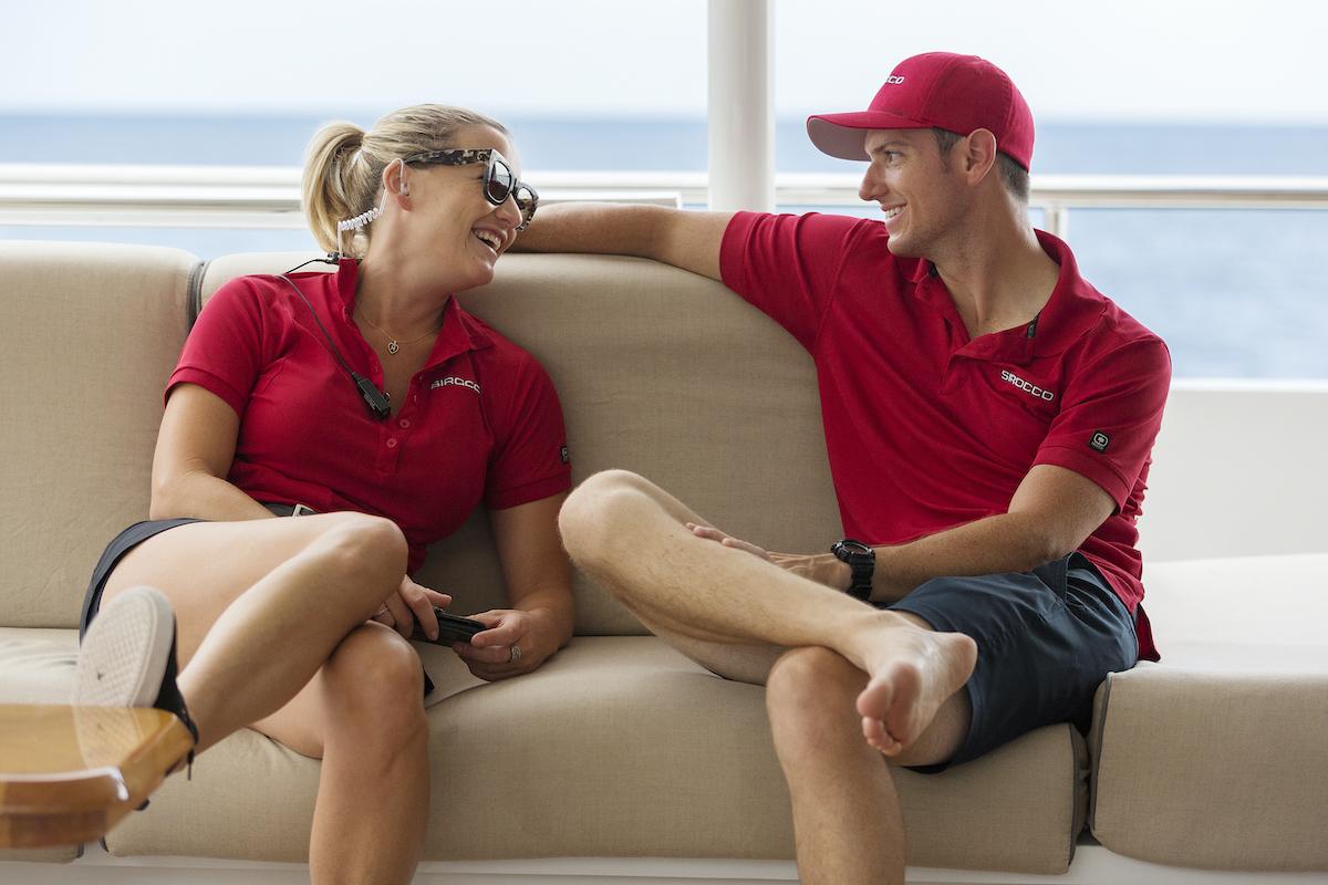 Hannah Ferrier and Colin Macy-O'Toole take a break on Below Deck Mediterranean