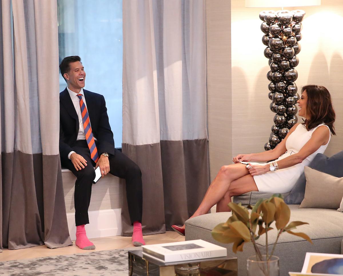Fredrik Eklund from Million Dollar Listing New York Bethenny Frankel chat over a real estate deal
