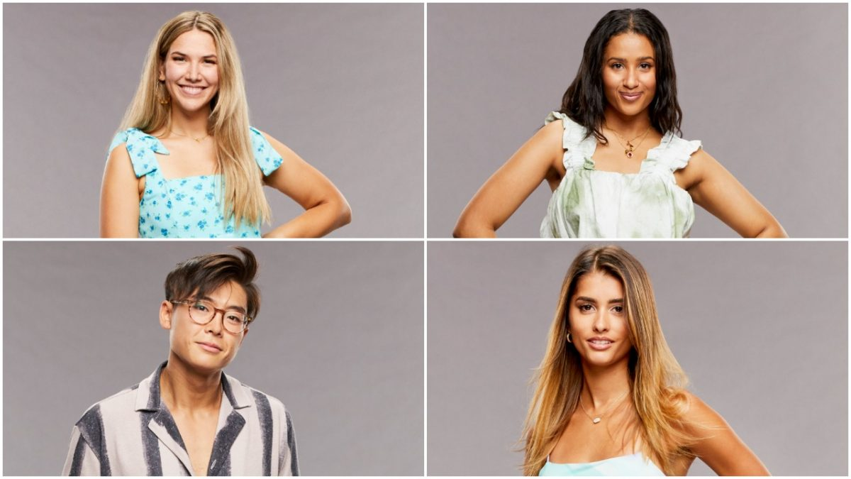 Claire Rehfuss, Hannah Chaddha, Derek Xiao, and Alyssa Lopez pose for 'Big Brother 23' cast photos