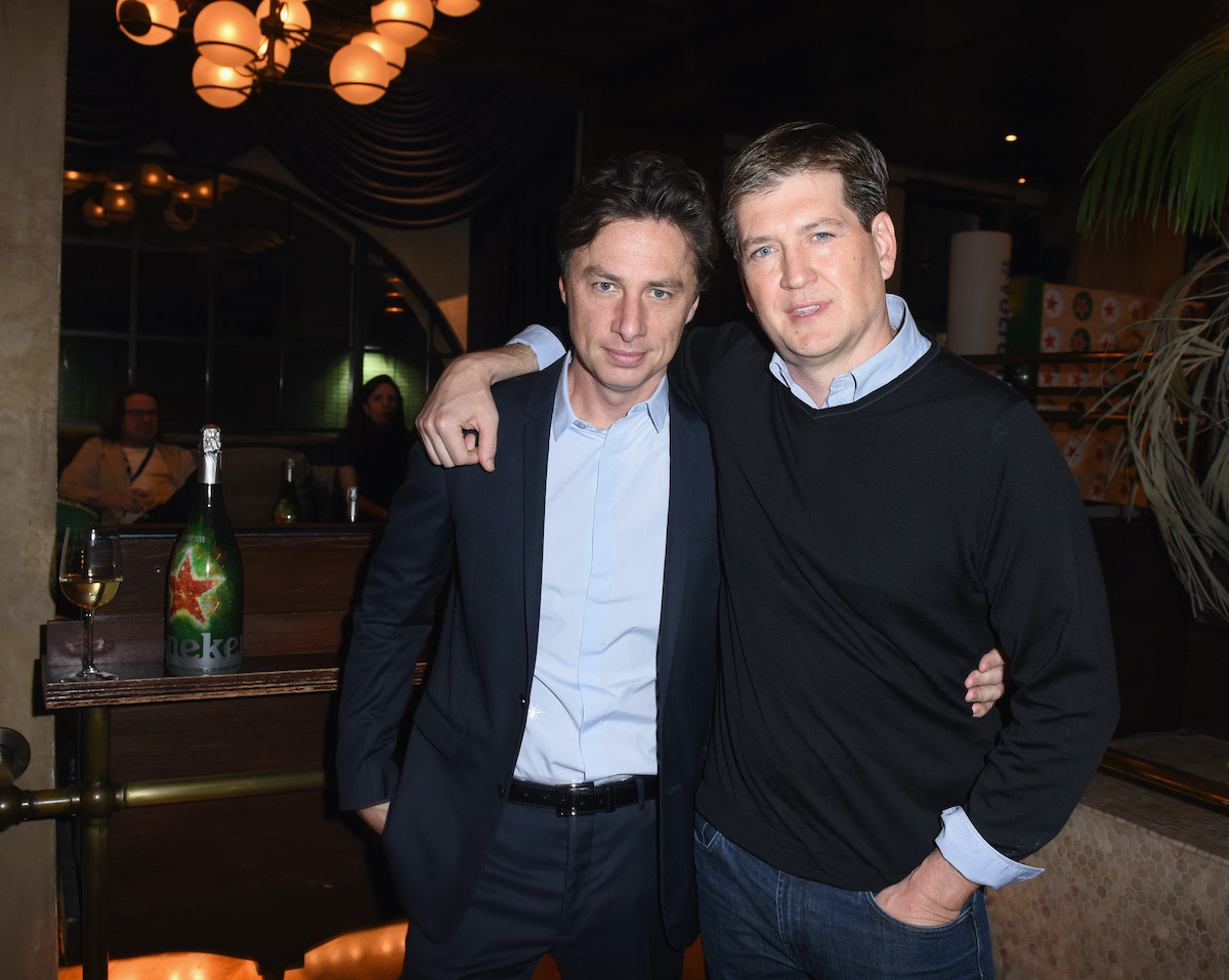 Zach Braff (L) and Bill Lawrence attend the Heineken Green Room during Vulture Festival. The two friends would work on both 'Scrubs' and 'Ted Lasso' together