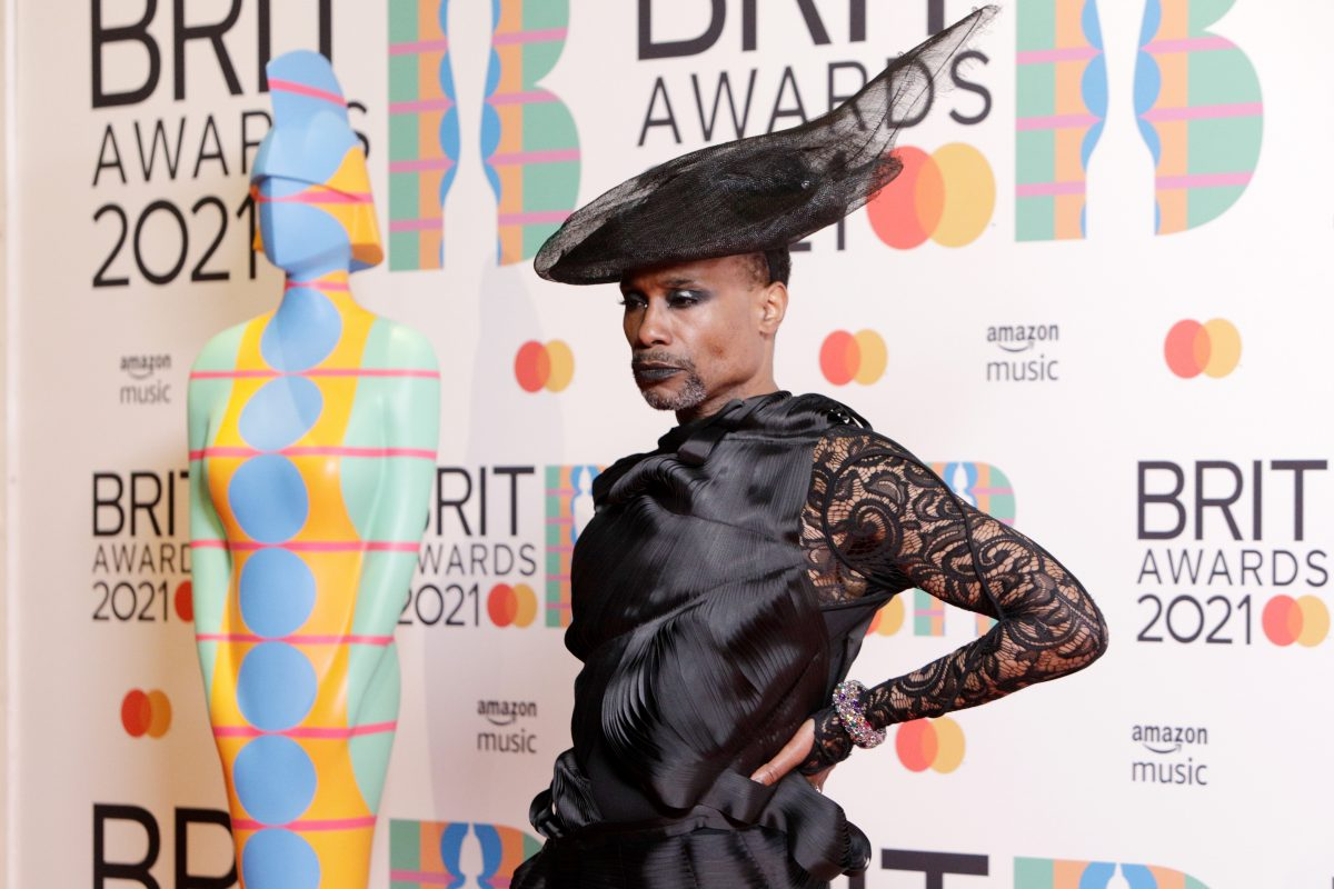 Billy Porter posing in the media room during The BRIT Awards 2021