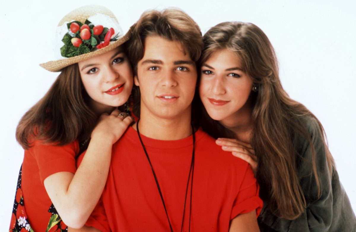 Jenna Von Oy, Joey Lawrence and Mayim Bialik pose for a promotional still for 'Blossom' in 1992