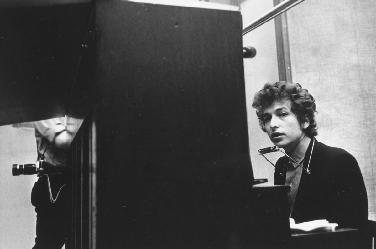 """Bob Dylan recording """"Highway 61 Revisited"""" in 1965"""