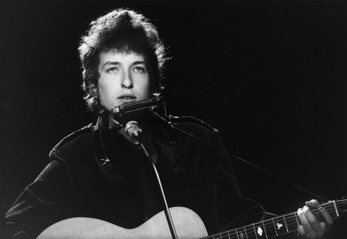 Bob Dylan performing on a TV show