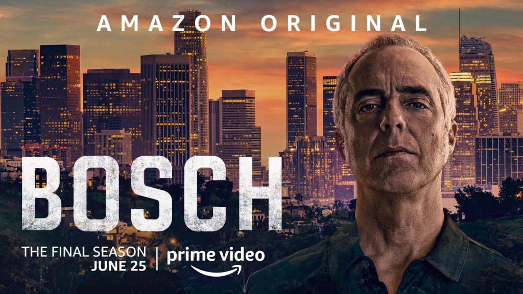 Titus Welliver stars as Harry Bosch in Amazon Prime's 'Bosch' in this original key art for promotion. Harry looks straight into the camera with Hollywood sights behind him.