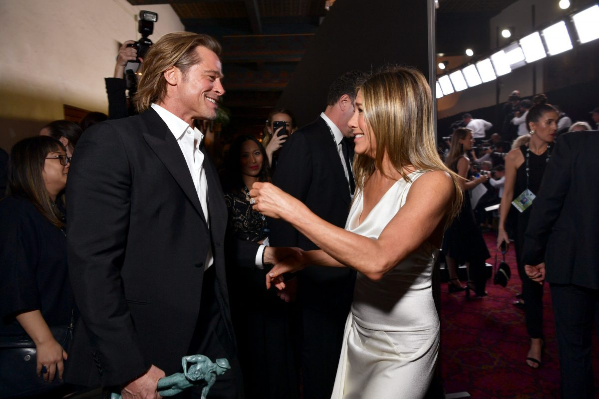 Brad Pitt and Jennifer Aniston backstage at the 26th Annual Screen Actors Guild Awards