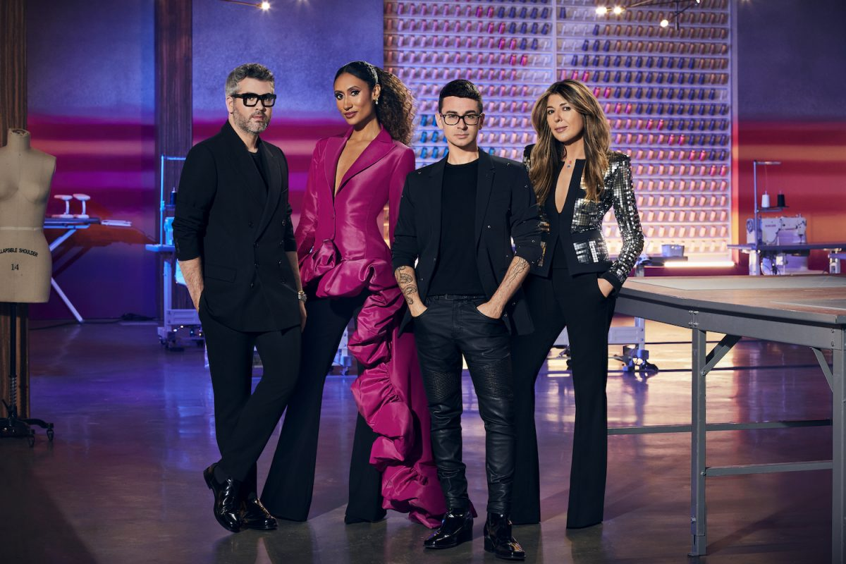 Brandon Maxwell, Elaine Welteroth, Christian Siriano, and Nina Garcia in the 'Project Runway' workroom for Season 19 cast photo