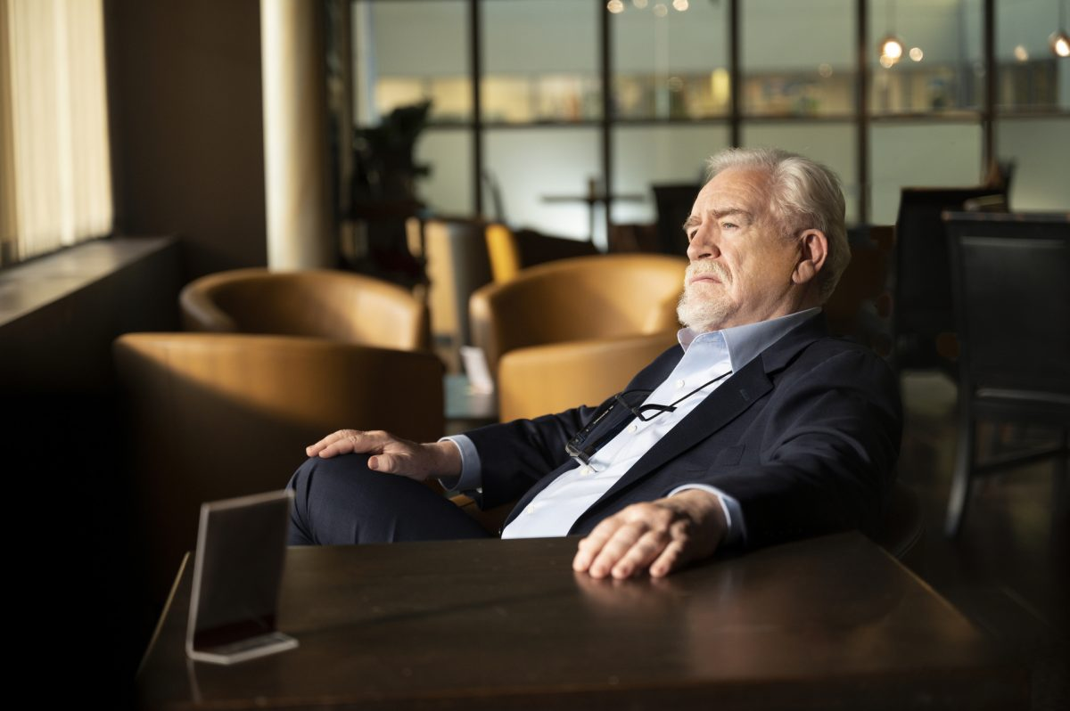 Succession Season 3 photo of Brian Cox looking out the window portraying Logan Roy