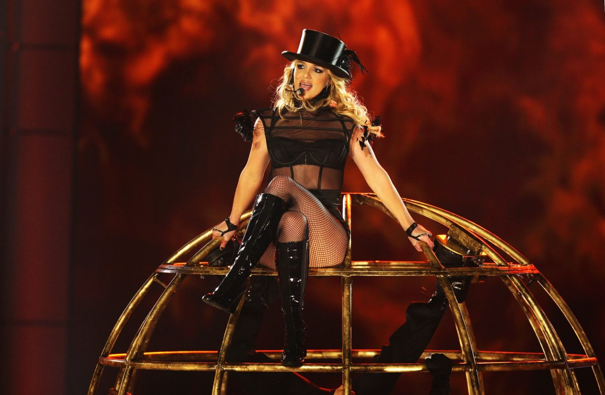 Britney Spears perfoming on stage in Germany in 2008 the same year her father obtained the conservatorship