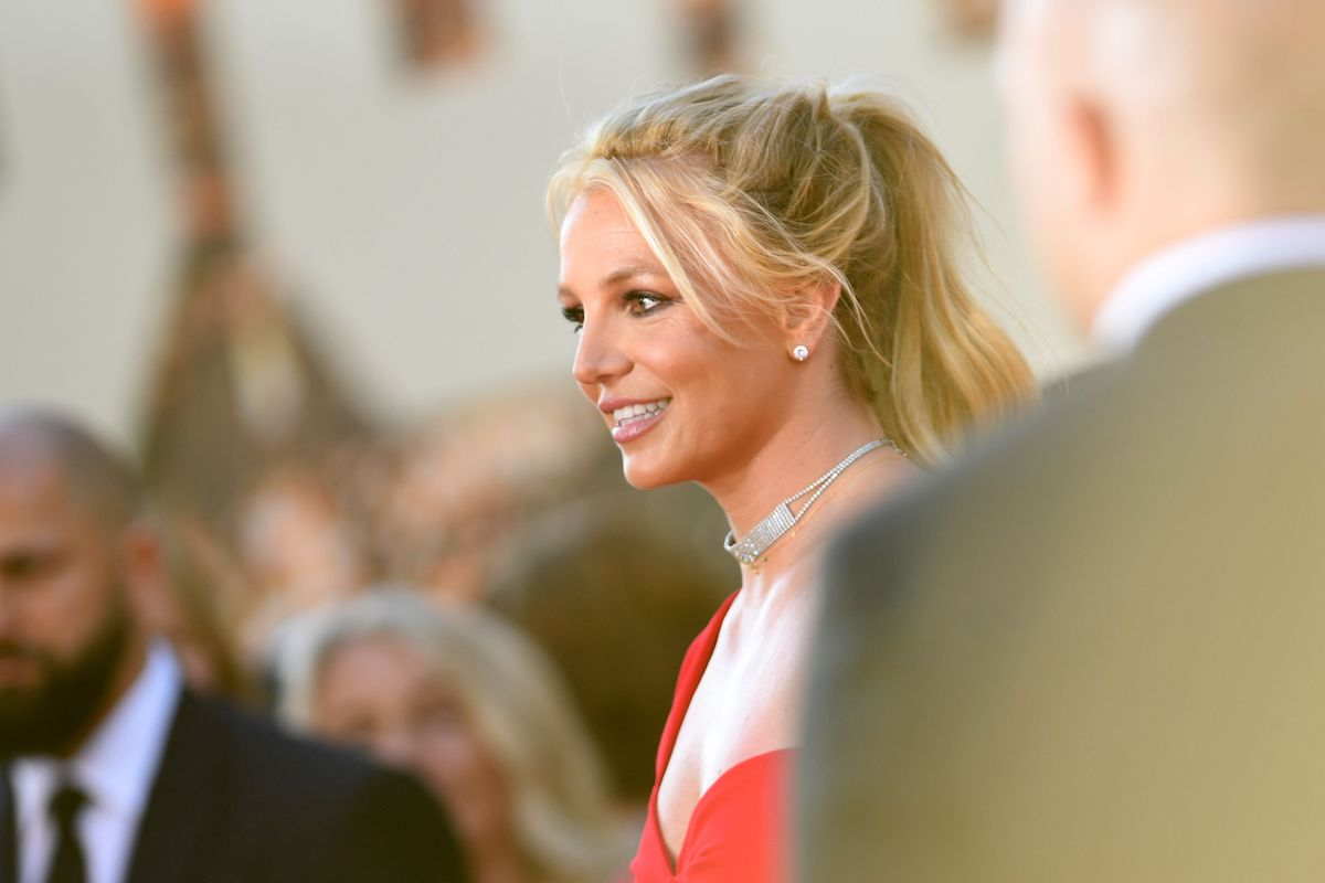 Britney Spears in ponytail & red dress