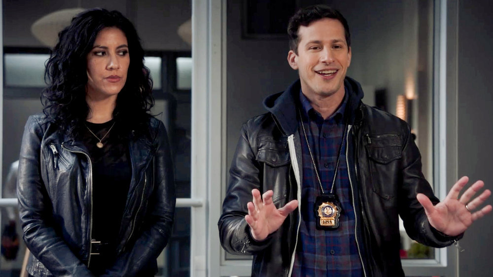 Rosa Diaz and Jake Peralta stand next to each other in 'Brooklyn Nine-Nine'