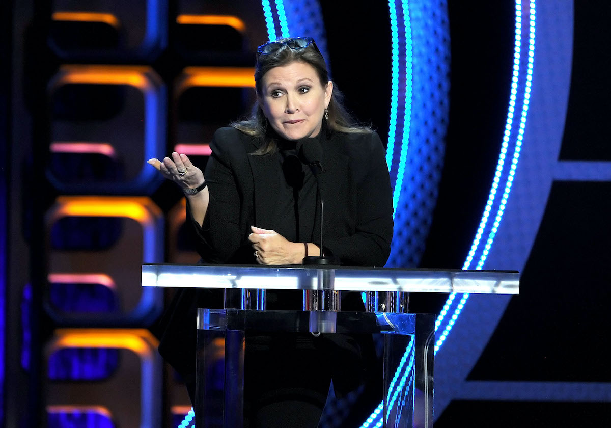 Actress and script doctor Carrie Fisher speaks onstage during the Comedy Central Roast of Roseanne Barr