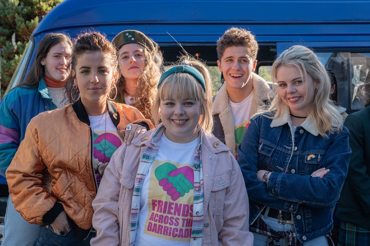 Production still of Saoirse-Monica Jackson, Louisa Harland, Nicola Coughlan, Jamie-Lee O'Donnell and Dylan Llewellyn in 'Derry Girls'