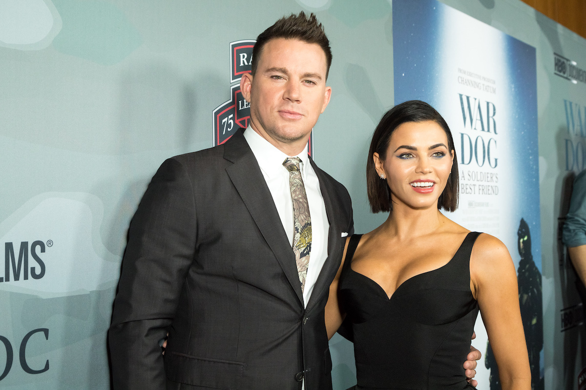 Channing Tatum and Jenna Dewan embrace on the red carpet