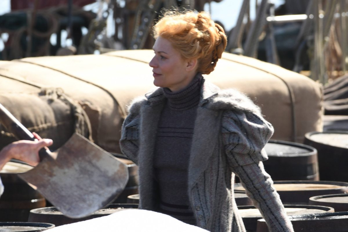 Claire Danes in Victorian costume on the set of 'The Essex Serpent'