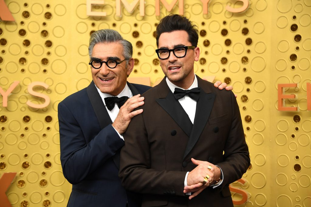 LOS ANGELES, CALIFORNIA - SEPTEMBER 22: Eugene Levy (L) and Dan Levy attend the 71st Emmy Awards at Microsoft Theater on September 22, 2019 in Los Angeles, California.