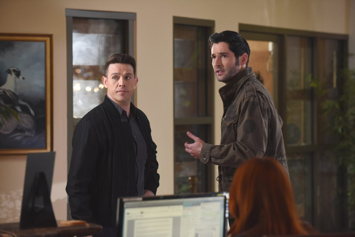 Dan and Lucifer, Lucifer, in civilian clothes in office