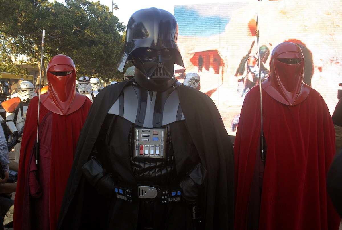 'Star Wars' fans dress as Darth Vader and Imperial guards