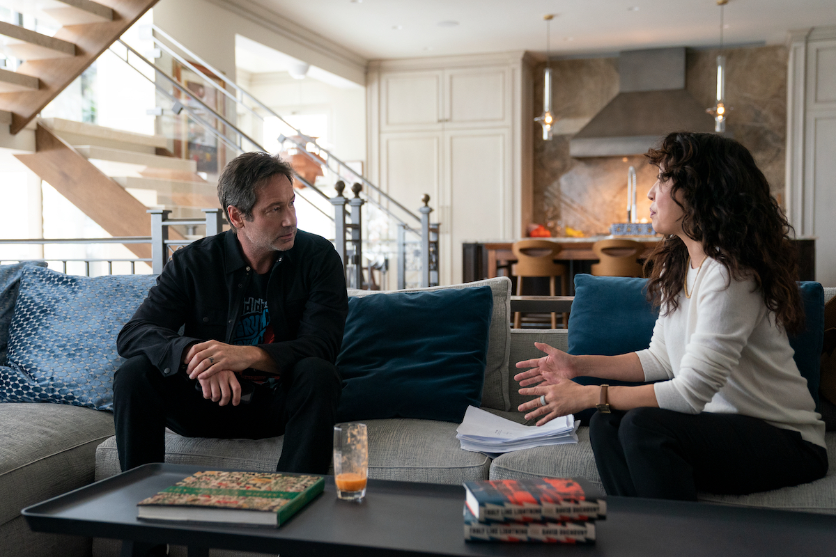David Duchovny and Sandra Oh sit on a gray couch in 'The Chair' Season 1