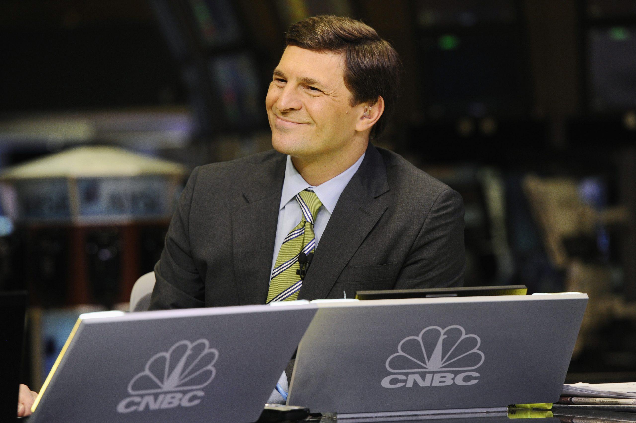 Anchor David Faber on set at CNBC