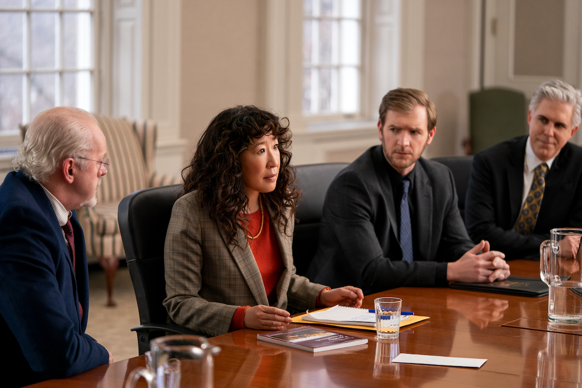 David Morse, Sandra Oh, Cliff Chamberlain, and Ian Lithgow sit at a table in 'The Chair' Season 1 Episode 6