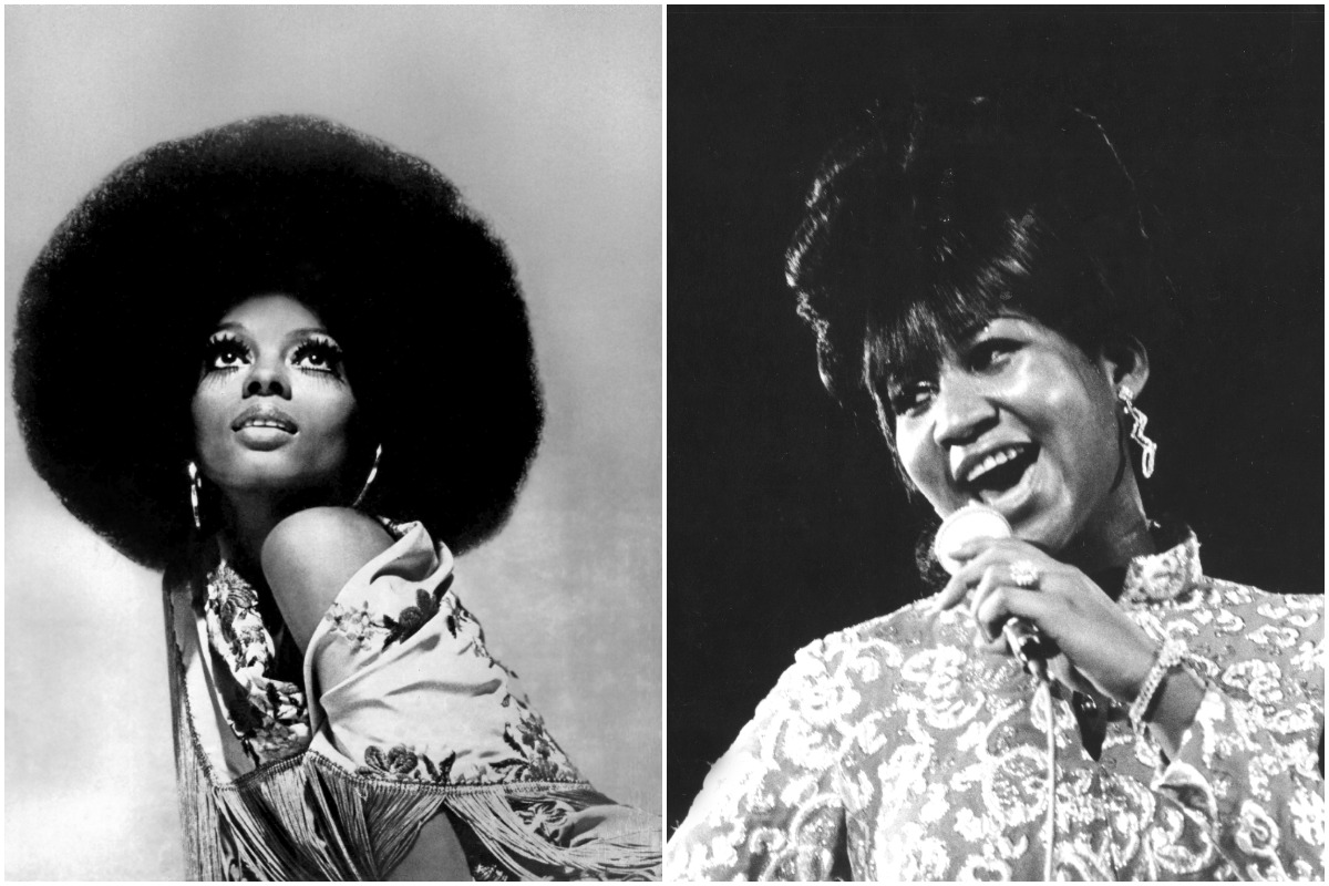 Diana Ross and Aretha Franklin in a side-by-side black-and-white photo.