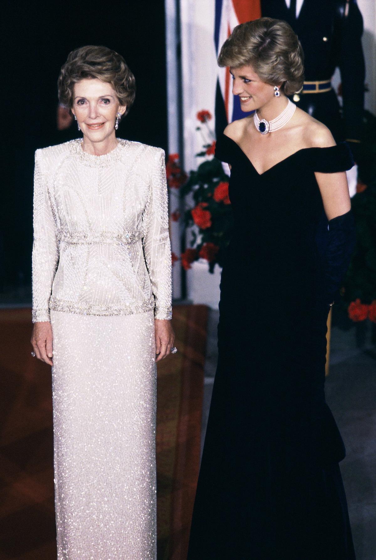 Nancy Reagan and Princess Diana in formalwear