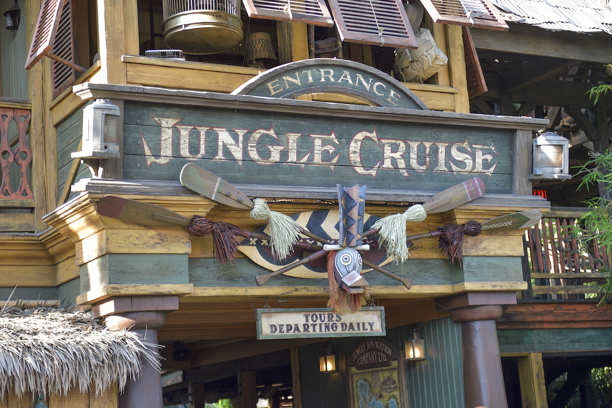 a sign for the Jungle Cruise ride at Disneyland