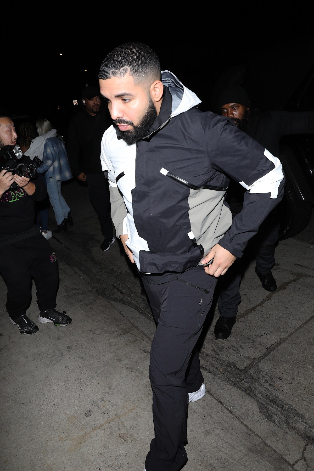 Drake seen in a white, grey, and black hoodie with black sweat pants on May 31, 2021 in Los Angeles, California.