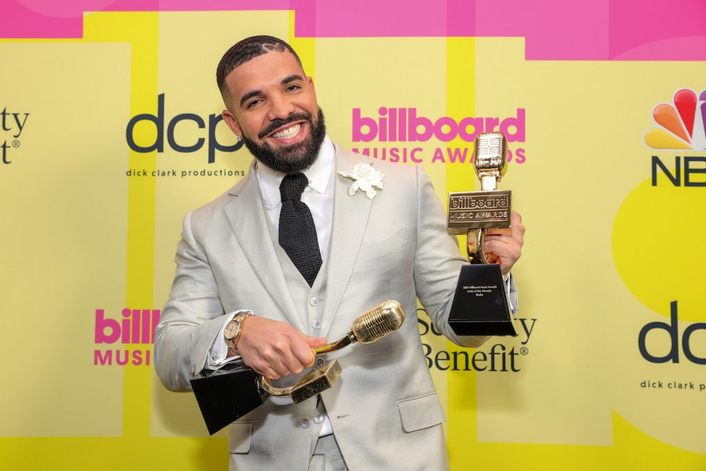 Drake, winner of the Artist of the Decade Award, poses backstage for the 2021 Billboard Music Awards, broadcast on May 23, 2021 at Microsoft Theater in Los Angeles, California.