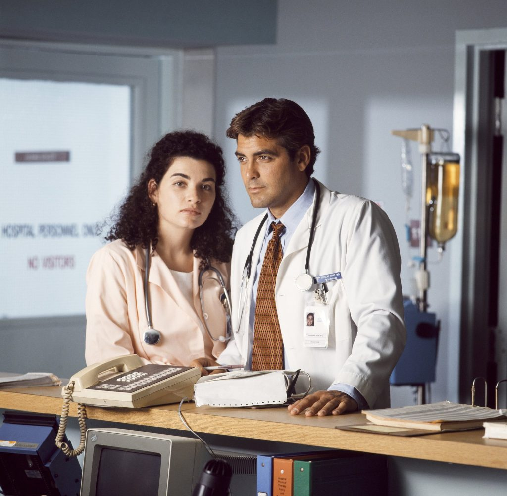 Julianna Margulies and George Clooney on the 'ER' set