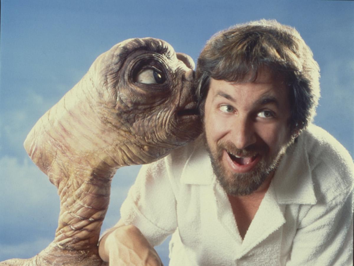 E.T. and Steven Spielberg pose for a portrait