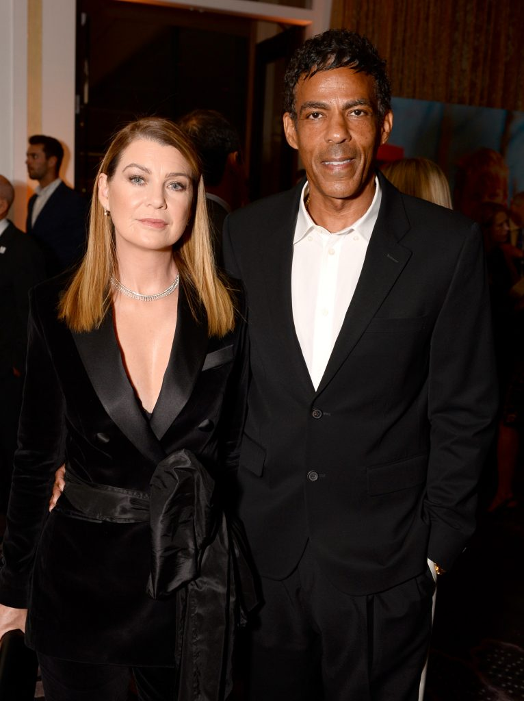 'Grey's Anatomy' star Ellen Pompeo and husband Chris Ivery wearing all-black outfits at an event.