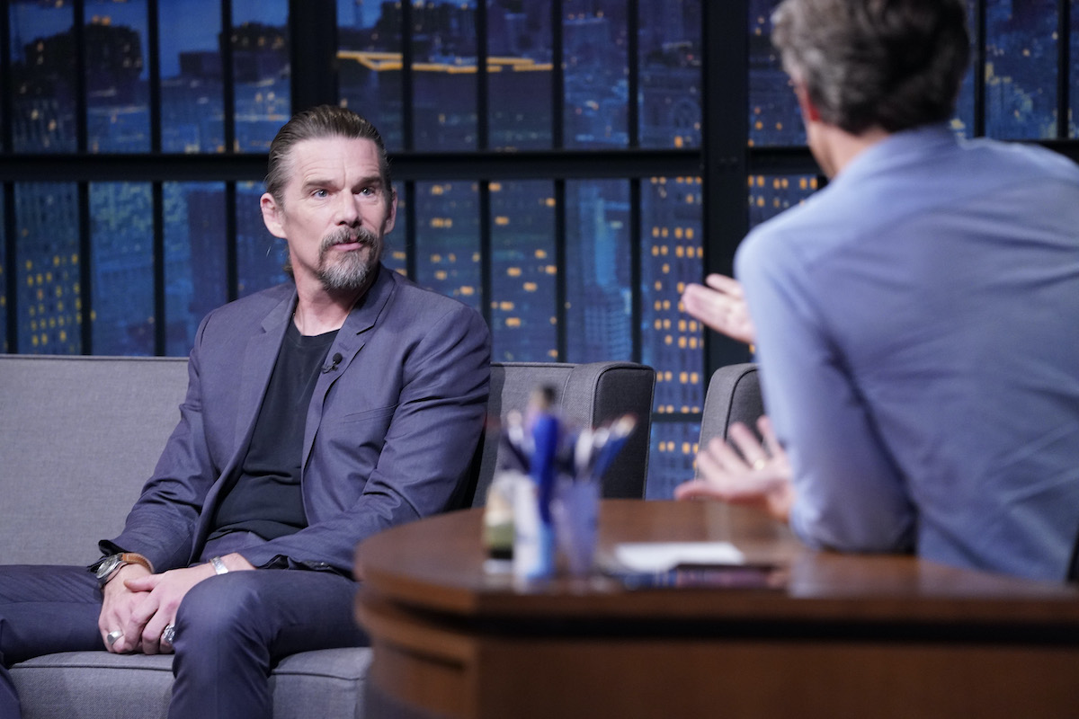 LATE NIGHT WITH SETH MEYERS -- Episode 1065A -- Pictured: (l-r) Actor Ethan Hawke during an interview with host Seth Meyers on November 11, 2020