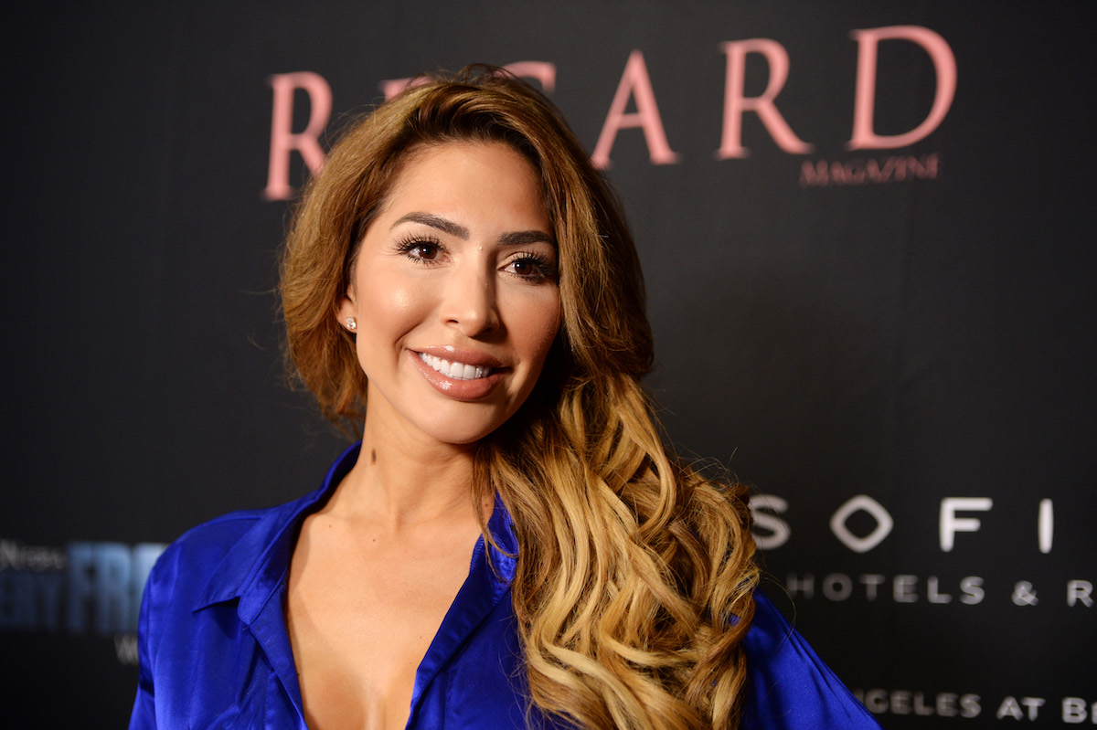 Television personality Farrah Abraham wears a blue silk dress as she arrives at Regard Magazine's 2020 event celebrating women in film and television in Los Angeles.
