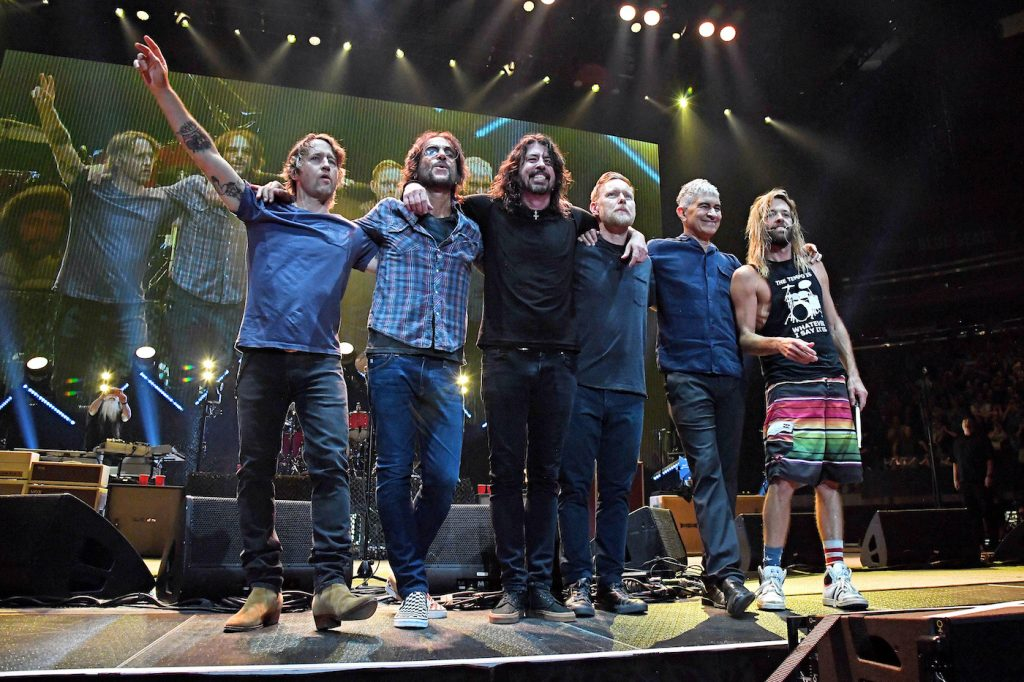 Foo Fighters: (L-R) Chris Shiflett, Rami Jaffee, Dave Grohl, Nate Mendel, Pat Smear, and Taylor Hawkins onstage at Madison Square Garden in June 2021