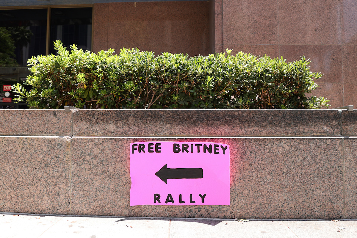 A pink poster of the Free Britney rally